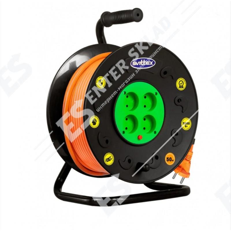 Удлинитель на катушке Svittex, 40м (2х2.5 мм²) с теплозащитой