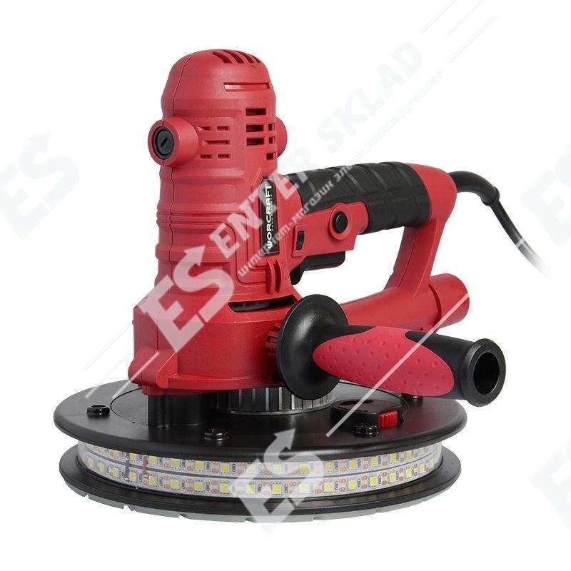 Шлифовальная машина для стен Worcraft DS08-180, 800 Вт, 1200-2300 об/мин, диск 180мм, LED подсветка