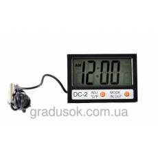 Электронный термометр с выносным 2мя датчиками и часами DC-2