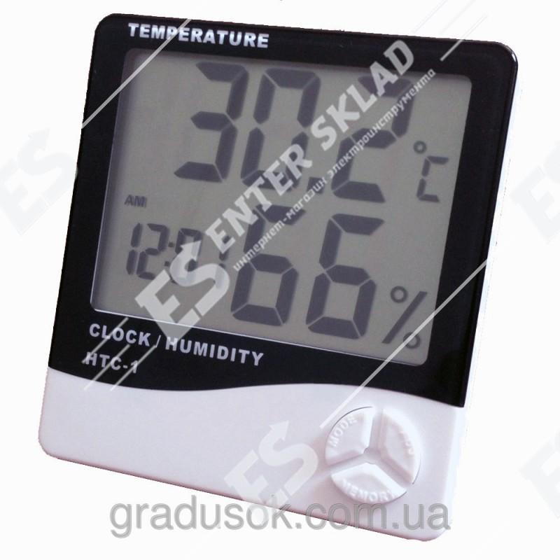 Гигрометр HTC-1, термометр с часами и будильником.
